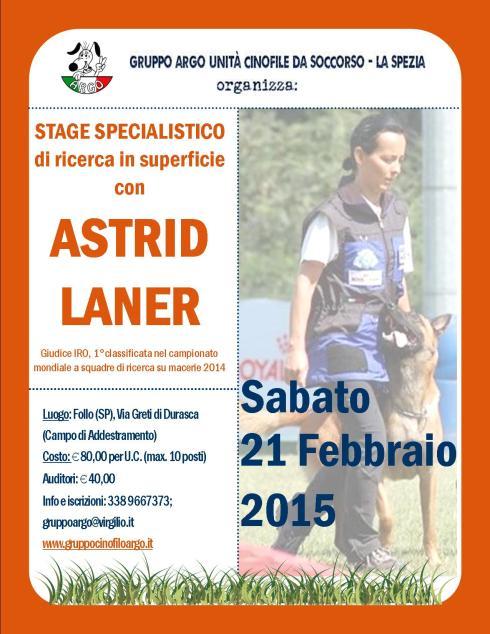 Stage con ASTRID LANER  Febbraio 2015